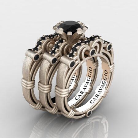 Art-Masters-Caravaggio-Trio-14K-Matte-Rose-Gold-1-Carat-Black-Diamond-Engagement-Ring-Wedding-Band-Set-R623S3-14KMRGBD-P