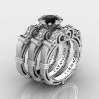 Art Masters Caravaggio Trio 14K Matte White Gold 1.0 Ct Black and White Diamond Engagement Ring Wedding Band Set R623S3-14KMWGDBD