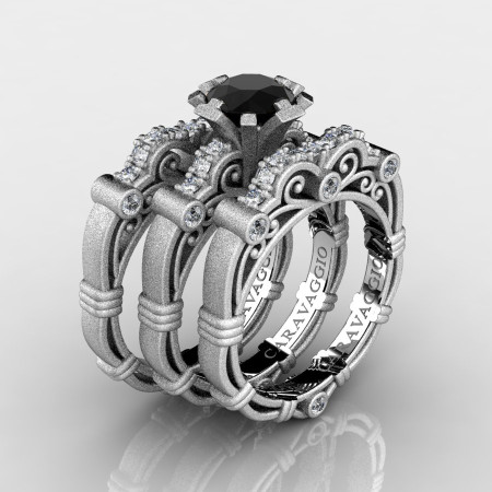Art-Masters-Caravaggio-Trio-14K-Matte-White-Gold-1-Carat-Black-and-White-Diamond-Engagement-Ring-Wedding-Band-Set-R623S3-14KMWGDBD-P