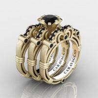 Art Masters Caravaggio Trio 14K Matte Yellow Gold 1.0 Ct Black Diamond Engagement Ring Wedding Band Set R623S3-14KMYGBD