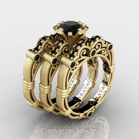 Art-Masters-Caravaggio-Trio-14K-Matte-Yellow-Gold-1-Carat-Black-Diamond-Engagement-Ring-Wedding-Band-Set-R623S3-14KMYGBD-P