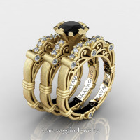 Art Masters Caravaggio Trio 14K Matte Yellow Gold 1.0 Ct Black and White Diamond Engagement Ring Wedding Band Set R623S3-14KMYGDBD