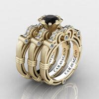 Art Masters Caravaggio Trio 14K Matte Yellow Gold 1.0 Ct Black and White Diamond Engagement Ring Wedding Band Set R623S3-14KMYGDBD