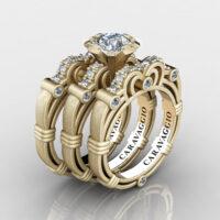 Art Masters Caravaggio Trio 14K Matte Yellow Gold 1.0 Ct White Sapphire White Diamond Engagement Ring Wedding Band Set R623S3-14KMYGDWS