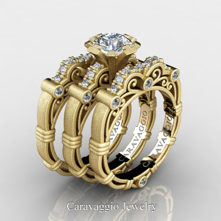Art-Masters-Caravaggio-Trio-14K-Matte-Yellow-Gold-1-Carat-White-Sapphire-Diamond-Engagement-Ring-Wedding-Band-Set-R623S3-14KMYGDWS-P2