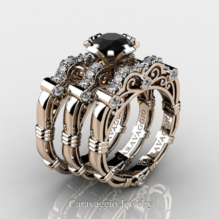 Art-Masters-Caravaggio-Trio-14K-Rose-Gold-1-Carat-Black-and-White-Diamond-Engagement-Ring-Wedding-Band-Set-R623S3-14KRGDBD-P
