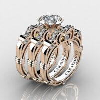 Art Masters Caravaggio Trio 14K Rose Gold 1.0 Ct White Sapphire Diamond Engagement Ring Wedding Band Set R623S3-14KRGDWS