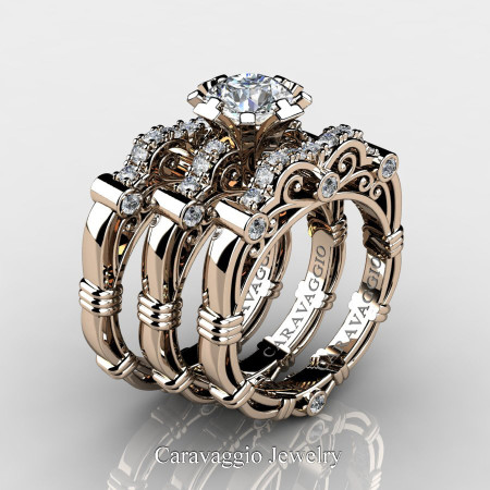 Art-Masters-Caravaggio-Trio-14K-Rose-Gold-1-Carat-White-Sapphire-Diamond-Engagement-Ring-Wedding-Band-Set-R623S3-14KRGDWS-P