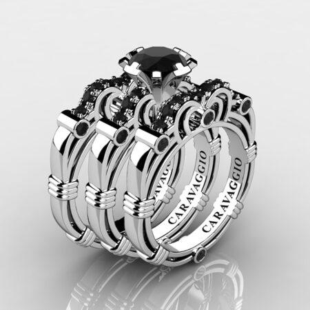 Art-Masters-Caravaggio-Trio-14K-White-Gold-1-Carat-Black-Diamond-Engagement-Ring-Wedding-Band-Set-R623S3-14KWGBD-P2