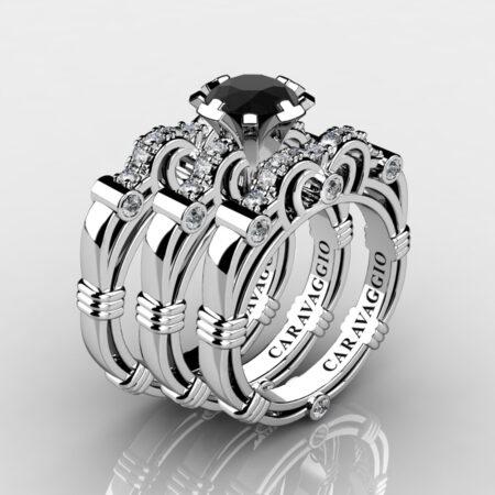 Art-Masters-Caravaggio-Trio-14K-White-Gold-1-Carat-Black-and-White-Diamond-Engagement-Ring-Wedding-Band-Set-R623S3-14KWGDBD-P
