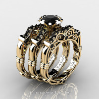 Art Masters Caravaggio Trio 14K Yellow Gold 1.0 Ct Black Diamond Engagement Ring Wedding Band Set R623S3-14KYGBD