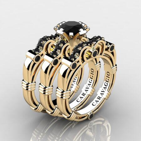 Art-Masters-Caravaggio-Trio-14K-Yellow-Gold-1-Carat-Black-Diamond-Engagement-Ring-Wedding-Band-Set-R623S3-14KYGBD-P