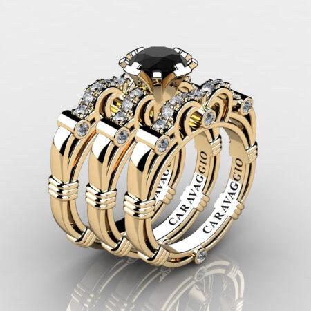 Art-Masters-Caravaggio-Trio-14K-Yellow-Gold-1-Carat-Black-and-White-Diamond-Engagement-Ring-Wedding-Band-Set-R623S3-14KYGDBD-P