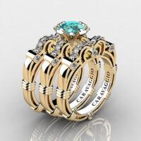 Art Masters Caravaggio Trio 14K Yellow Gold 1.0 Ct Blue and White Diamond Engagement Ring Wedding Band Set R623S3-14KYGDBLD