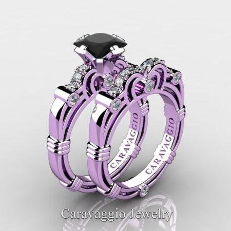 Art-Masters-Caravaggio-14K-Lilac-Gold-1-25-Carat-Princess-Black-and-White-Diamond-Engagement-Ring-Wedding-Band-Set-R623PS-14KLGDBD-P