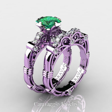 Art-Masters-Caravaggio-14K-Lilac-Gold-1-25-Carat-Princess-Emerald-Diamond-Engagement-Ring-Wedding-Band-Set-R623PS-14KLGDEM-P