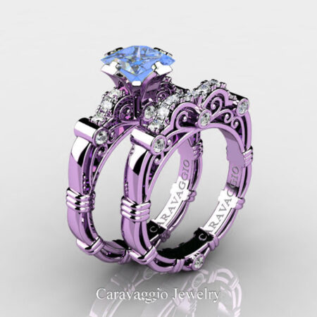 Art-Masters-Caravaggio-14K-Lilac-Gold-1-25-Carat-Princess-Light-Blue-Sapphire-Diamond-Engagement-Ring-Wedding-Band-Set-R623PS-14KLGDLBS-P