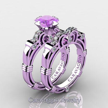 Art-Masters-Caravaggio-14K-Lilac-Gold-1-25-Carat-Princess-Lilac-Amethyst-Diamond-Engagement-Ring-Wedding-Band-Set-R623PS-14KLGDLAM-P