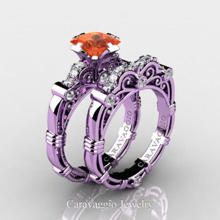 Art-Masters-Caravaggio-14K-Lilac-Gold-1-25-Carat-Princess-Orange-Sapphire-Diamond-Engagement-Ring-Wedding-Band-Set-R623PS-14KLGDOS-P