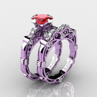 Art Masters Caravaggio 14K Lilac Gold 1.25 Ct Princess Ruby Diamond Engagement Ring Wedding Band Set R623PS-14KLGDR