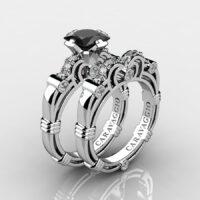 Art Masters Caravaggio 925 Sterling Silver 1.25 Ct Princess Black Diamond Engagement Ring Wedding Band Set R623PS-925SSDBD