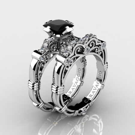 Art-Masters-Caravaggio-925-Sterling-Silver-1-25-Carat-Princess-Black-and-White-Diamond-Engagement-Ring-Wedding-Band-Bridal-Set-R623PS-925SSDBD-P