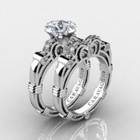 Art Masters Caravaggio 925 Sterling Silver 1.25 Ct Princess White Sapphire Diamond Engagement Ring Wedding Band Set R623PS-925SSDWS