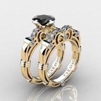 Art Masters Caravaggio Gold Vermeil 1.25 Ct Princess Black Diamond Engagement Ring Wedding Band Set R623PS-GVDBD