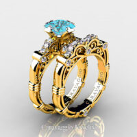 Art Masters Caravaggio Gold Vermeil 1.25 Ct Princess Blue Diamond Engagement Ring Wedding Band Set R623PS-GVDBLD
