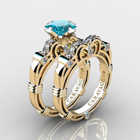 Art-Masters-Caravaggio-Gold-Vermeil-1-25-Carat-Princess-Blue-Diamond-Engagement-Ring-Wedding-Band-Set-R623PS-GVDBLD-P