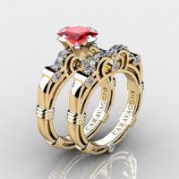 Art Masters Caravaggio Gold Vermeil 1.25 Ct Princess Ruby Diamond Engagement Ring Wedding Band Set R623PS-GVDR