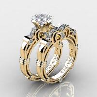 Art Masters Caravaggio Gold Vermeil 1.25 Ct Princess White Sapphire Engagement Ring Wedding Band Set R623PS-GVWS