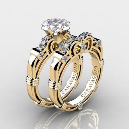 Art-Masters-Caravaggio-Gold-Vermeil-1-25-Carat-Princess-White-Sapphire-Diamond-Engagement-Ring-Wedding-Band-Set-R623PS-GVDWS-P