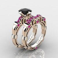 Art Masters Caravaggio Rose Gold Vermeil 1.25 Ct Princess Black and Pink Sapphire Engagement Ring Wedding Band Set R623PS-RGVPSBLS
