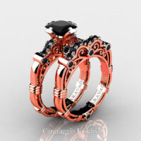 Art Masters Caravaggio Rose Gold Vermeil 1.25 Ct Princess Black Sapphire Engagement Ring Wedding Band Set R623PS-RGVBLS