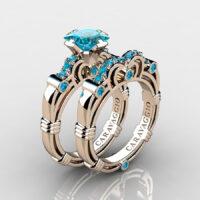 Art Masters Caravaggio Rose Gold Vermeil 1.25 Ct Princess Blue Diamond Engagement Ring Wedding Band Set R623PS-RGVBLD