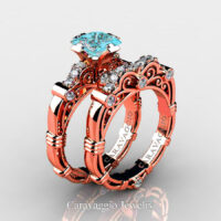 Art Masters Caravaggio Rose Gold Vermeil 1.25 Ct Princess Blue Diamond Engagement Ring Wedding Band Set R623PS-RGVDBLD