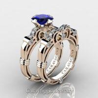 Art Masters Caravaggio Rose Gold Vermeil 1.25 Ct Princess Blue Sapphire Diamond Engagement Ring Wedding Band Set R623PS-RGVDBS