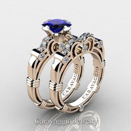 Art-Masters-Caravaggio-Rose-Gold-Vermeil-1-25-Carat-Princess-Blue-Sapphire-Diamond-Engagement-Ring-Wedding-Band-Set-R623PS-RGVDBS-P