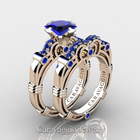 Art-Masters-Caravaggio-Rose-Gold-Vermeil-1-25-Carat-Princess-Blue-Sapphire-Engagement-Ring-Wedding-Band-Set-R623PS-RGVBS-P2