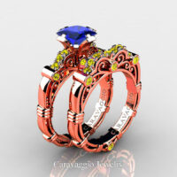 Art Masters Caravaggio Rose Gold Vermeil 1.25 Ct Princess Blue and Yellow Sapphire Engagement Ring Wedding Band Set R623PS-RGVYSBS