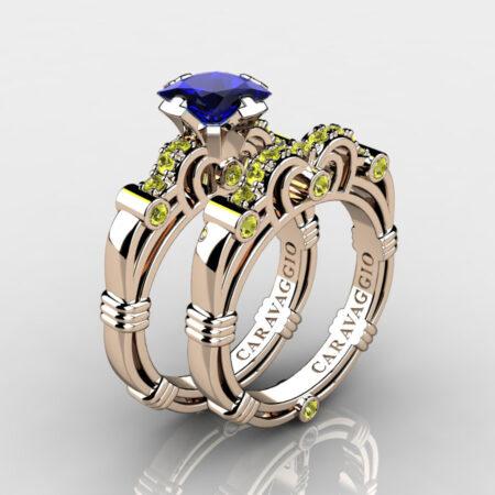 Art-Masters-Caravaggio-Rose-Gold-Vermeil-1-25-Carat-Princess-Blue-Yellow-Sapphire-Engagement-Ring-Wedding-Band-Set-R623PS-RGVYSBS-P