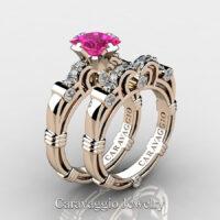 Art Masters Caravaggio Rose Gold Vermeil 1.25 Ct Princess Pink Sapphire Diamond Engagement Ring Wedding Band Set R623PS-RGVDPS