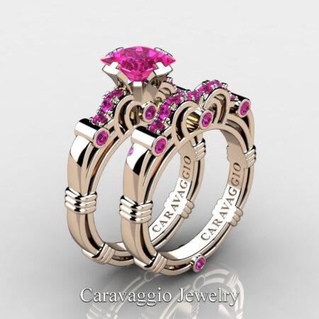 Art-Masters-Caravaggio-Rose-Gold-Vermeil-1-25-Carat-Princess-Pink-Sapphire-Engagement-Ring-Wedding-Band-Set-R623PS-RGVPS-P2