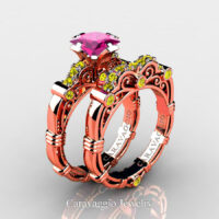 Art Masters Caravaggio Rose Gold Vermeil 1.25 Ct Princess Pink and Yellow Sapphire Engagement Ring Wedding Band Set R623PS-RGVYSPS