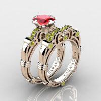 Art Masters Caravaggio Rose Gold Vermeil 1.25 Ct Princess Ruby Yellow Sapphire Engagement Ring Wedding Band Set R623PS-RGVYSR