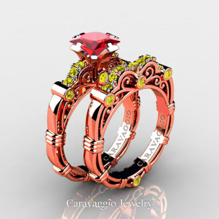 Art-Masters-Caravaggio-Rose-Gold-Vermeil-1-25-Carat-Princess-Ruby-Yellow-Sapphire-Engagement-Ring-Wedding-Band-Set-R623PS-RGVYSR-P