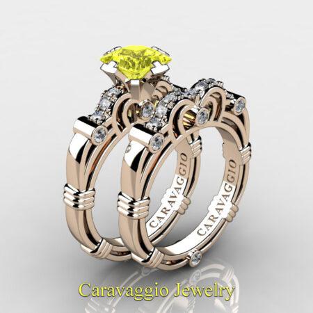Art-Masters-Caravaggio-Rose-Gold-Vermeil-1-25-Carat-Princess-Yellow-Sapphire-Diamond-Engagement-Ring-Wedding-Band-Set-R623PS-RGVDYS-P