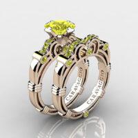 Art Masters Caravaggio Rose Gold Vermeil 1.25 Ct Princess Yellow Sapphire Engagement Ring Wedding Band Set R623PS-RGVYS