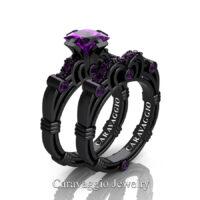 Art Masters Caravagio 14K Black Gold 1.25 Ct Princess Amethyst Engagement Ring Wedding Band Set R623PS-14KBGAM